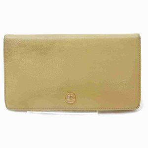 Auth Chanel Long Wallet Beige Leather #7070C71